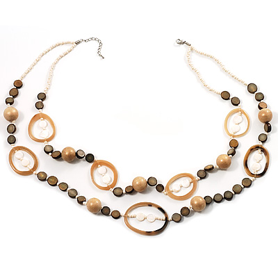 Boho Two Strand Bead Ivory Fashion Necklace