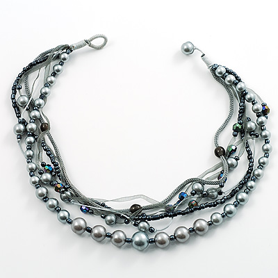 7-Tier Pearl & Ash Grey Sparkle Cord Necklace
