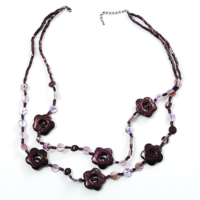 2 Strand Purple Floral Shell Necklace (Purple)