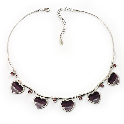 5 Purple Glittering Heart Necklace