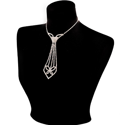 Diamante Butterfly Tie Necklace (Clear)
