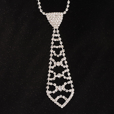 Stunning Diamante Tie Necklace (Clear)