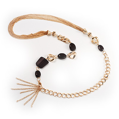Long Gold Tone Multistrand Tassel Necklace - main view