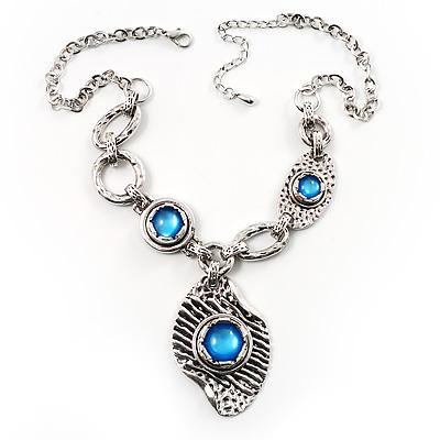 Antique Silver Vintage Hammered Drop Necklace (Sky Blue)