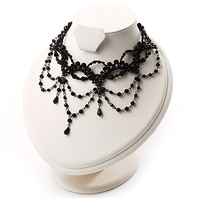 Victorian Style Black Beaded Choker - main view