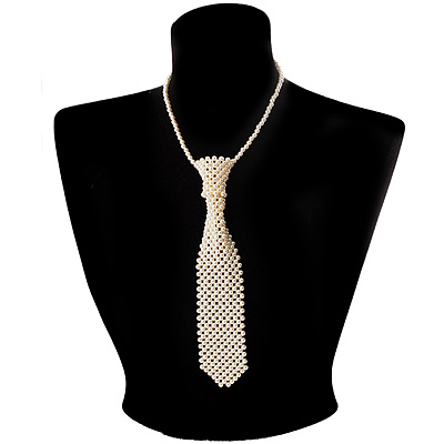 Ivory Pearl Style Tie Necklace