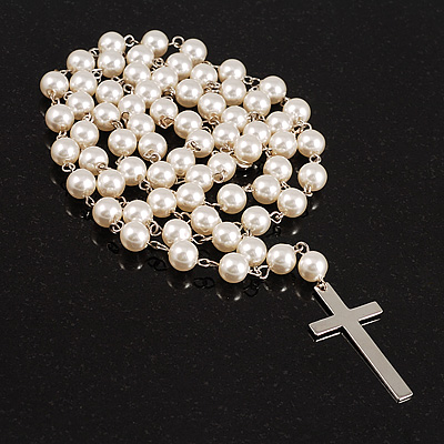 Long Imitation Pearl Cross Necklace (Snow White)