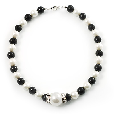 Black&amp;White Pearl Style Choker Necklace