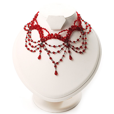 Victorian Style Hot Red Beaded Choker - main view
