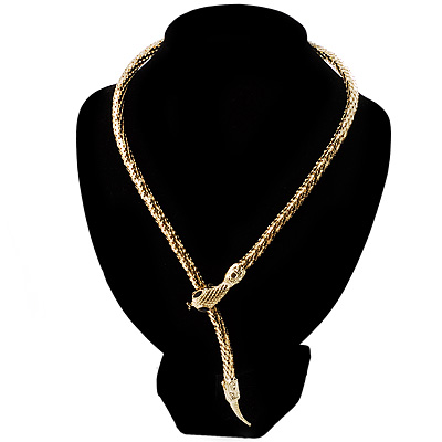 Mesmerizing Gold Tone Snake With Red Eyes Choker Necklace - main view