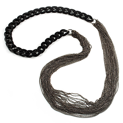 Catwalk Style Long Black Multichain Necklace (100cm Length)