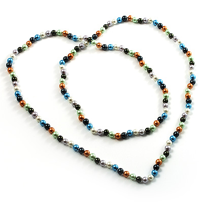 Long Multi-Colour Glass Pearl Necklace (140cm)