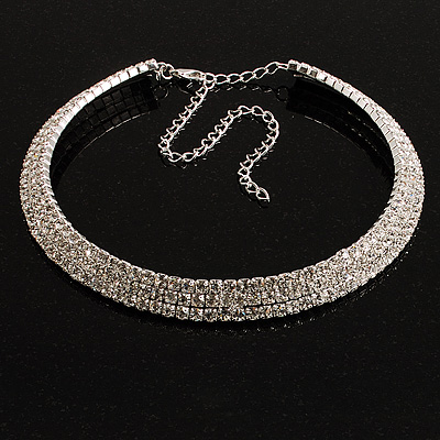 Swarovski Crystal Choker Necklace (Silver&Clear)