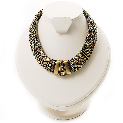 Vintage Wide Mesh Magnetic Choker (Bronze Tone)