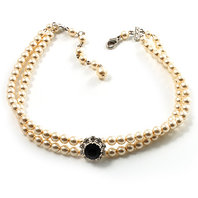 2 Strand Light Cream Imitation Pearl CZ Wedding Choker Necklace (With Jet-Black Central Stone)