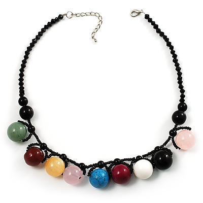 Multicoloured Semi-precious Beaded Choker Necklace (Silver Tone)
