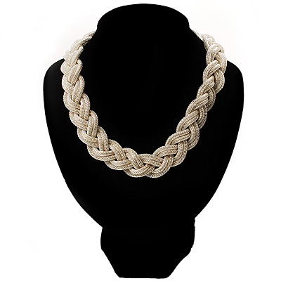 Chic Braided Choker Necklace (Silver Tone)