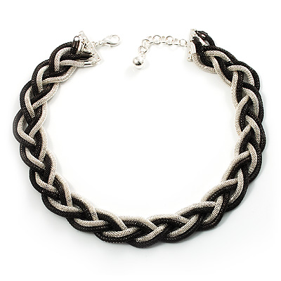 Chic Braided Choker Necklace (Silver&amp;Black Tone)