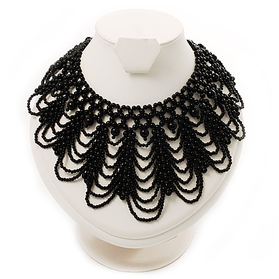 Luxurious Black Beaded Bib Style Choker Necklace Adult ...