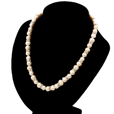 Ivory Freshwater Pearl Necklace With Crystal Rings (8mm)