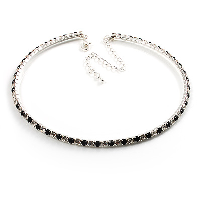 Thin Swarovski Crystal Choker Necklace (Clear &amp; Black)