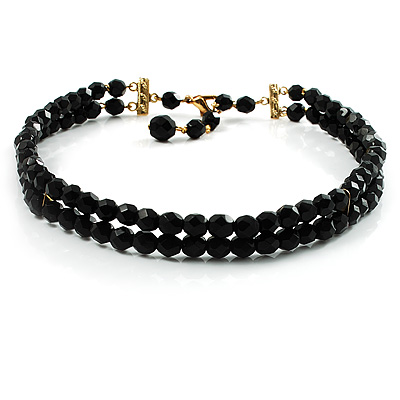 2-Strand Black Glass Bead Choker Necklace (Gold Tone)