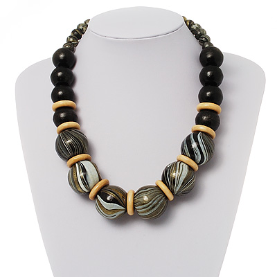 Chunky Colour Fusion Wood Bead Necklace (Black, Gold &amp; White)