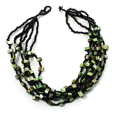 Multistrand Glass And Shell - Composite Necklace (Olive Green & Black)