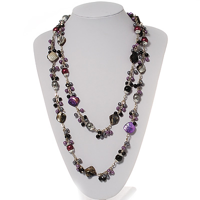 Ash Grey & Purple Shell & Imitation Pearl Bead Long Necklace - 150cm Length
