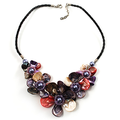 Stunning Multicoloured Shell-Composite Leather Cord Necklace - main view