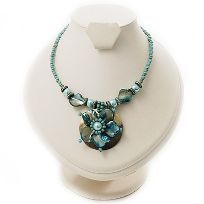 Turquoise Glass, Shell & Mother Of Pearl Floral Choker Necklace (Silver Tone)