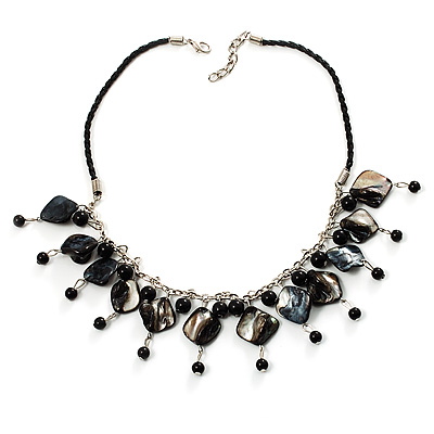Black Shell Composite Charm Leather Style Necklace (Silver Tone) - main view