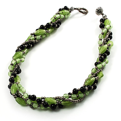 4 Strand Twisted Glass And Ceramic Choker Necklace (Black, Green & Metallic Silver) - 50cm L