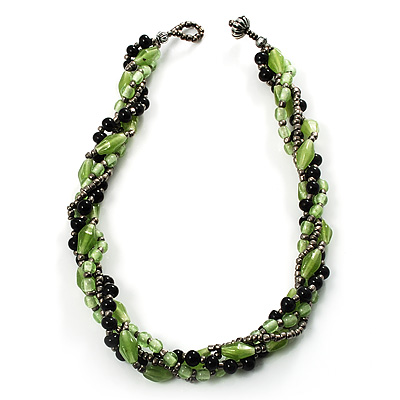 4 Strand Twisted Glass And Ceramic Choker Necklace (Black, Green &amp; Metallic Silver)