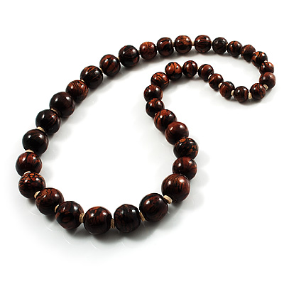 Animal Print Wooden Bead Necklace (Brown & Black)