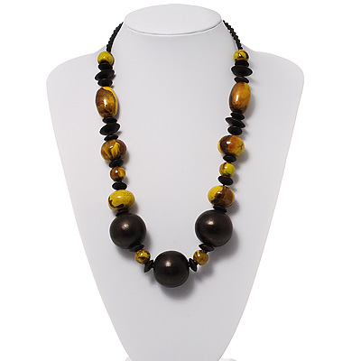Chunky Graduated Wood Bead Cotton Cord Necklace - 58cm Length