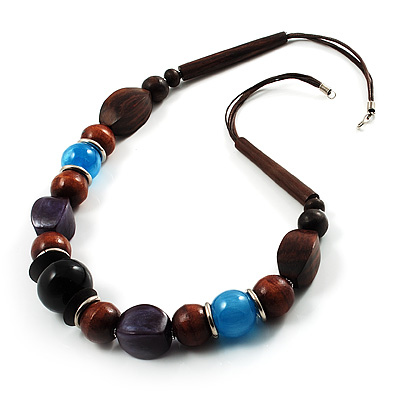 Wood, Glass &amp; Resin Bead Cord Necklace (Brown, Black, Purple &amp; Blue)