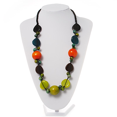 Wood & Resin Chunky Bead Cotton Cord Necklace (Orange, Green & Brown)