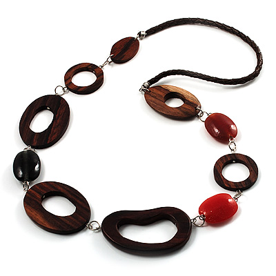 Wood Link &amp; Glass Nugget Leather Style Long Necklace (Dark Brown, Orange &amp; Black)