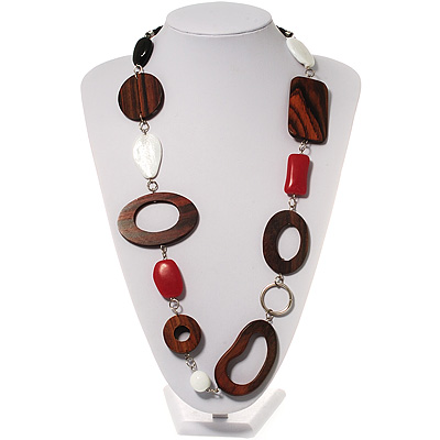 Wood & Silver Tone Metal Link Leather Style Long Necklace (Dark Brown, Coral, Black & White) - 76cm L