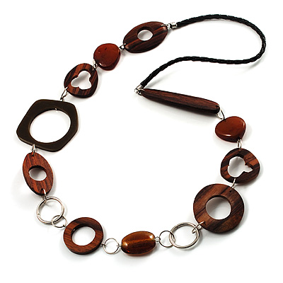 Wood &amp; Silver Tone Metal Link Leather Style Long Necklace (Dark Brown &amp; Black)