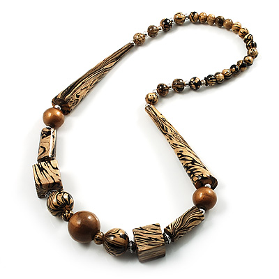 Animal Print Chunky Wood Bead Long Necklace (Cream, Black &amp; Antique Silver)