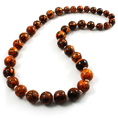 Long Graduated Wooden Bead Colour Fusion Necklace (Light Brown & Black)