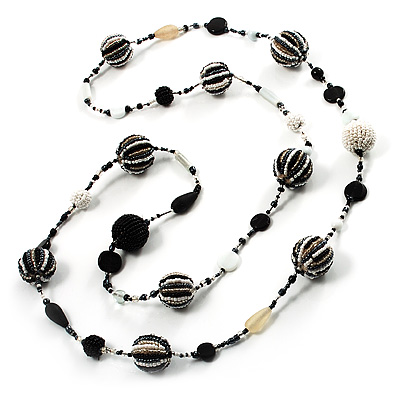 Long Black & White Glass Bead Fashion Necklace - 116cm Length