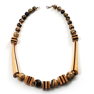 Long Chunky Wooden Geometric Necklace (Brown & Beige) - 58cm Length