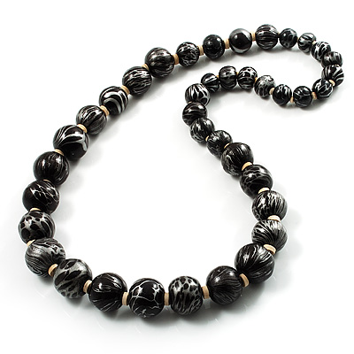 Animal Print Wooden Bead Necklace (Black & Metallic Silver) - 64cm Length