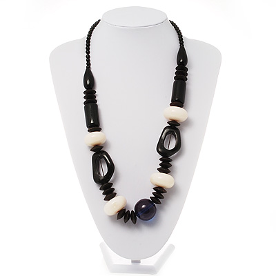 Chunky Resin & Wood Bead Necklace (Black, Ivory & Blue)