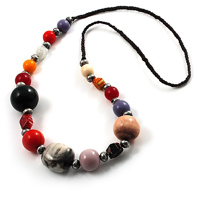 Long Resin & Ceramic Bead Cotton Cord Necklace (Multicoloured)