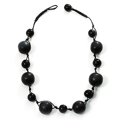 Chunky Black Ceramic &amp; Resin Bead Cotton Cord Necklace