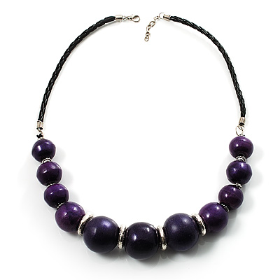 Glittering Purple Wood Bead Leather Cord Necklace (Silver Tone)